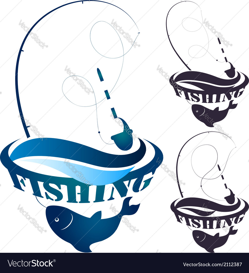 Fishing rod and fish vector | Price: 1 Credit (USD $1)