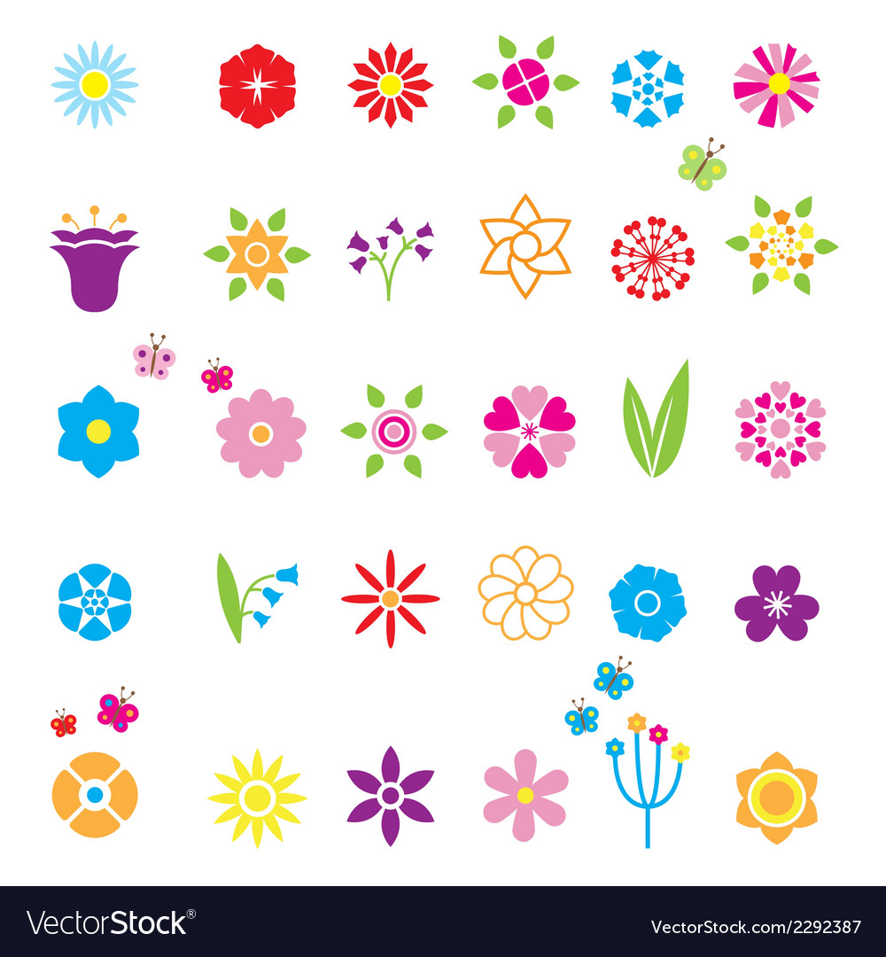 Flower icons set vector | Price: 1 Credit (USD $1)