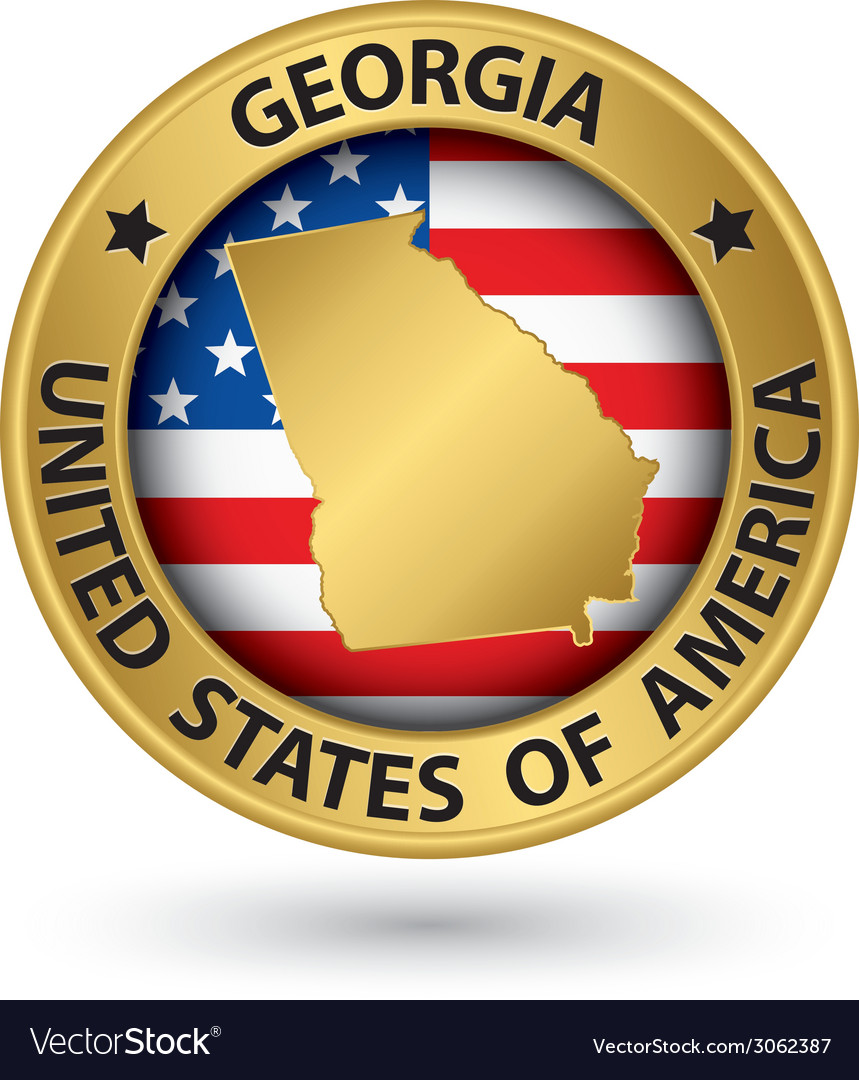 Georgia state gold label with state map vector | Price: 1 Credit (USD $1)