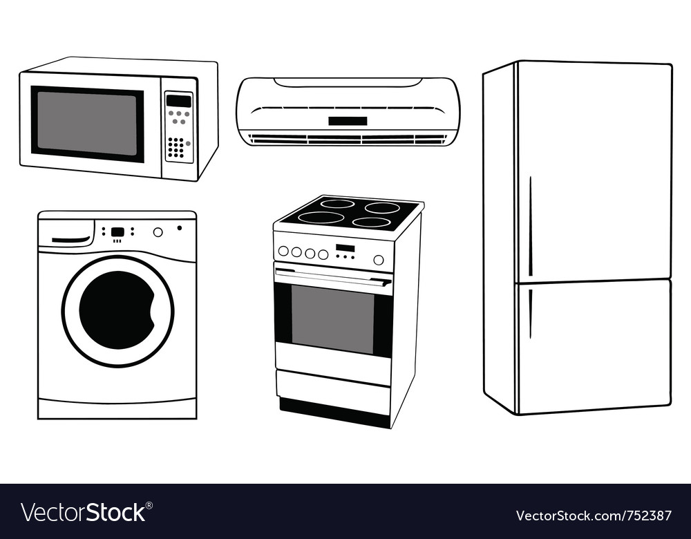 House appliances collage vector | Price: 1 Credit (USD $1)