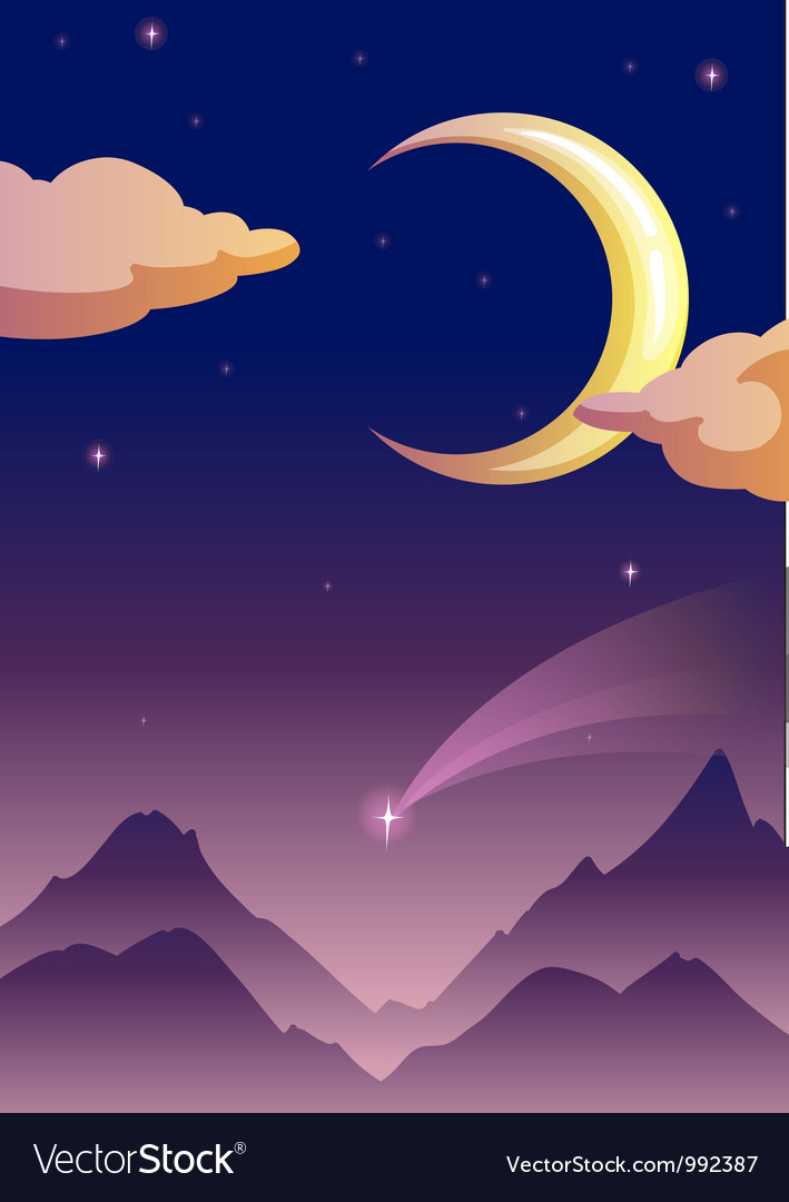 Moonlit evening vector | Price: 1 Credit (USD $1)