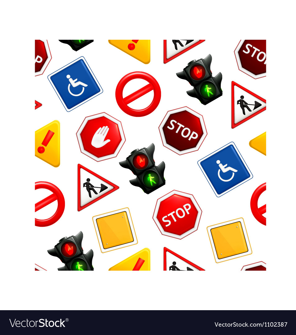 Road signs seamless pattern vector | Price: 1 Credit (USD $1)