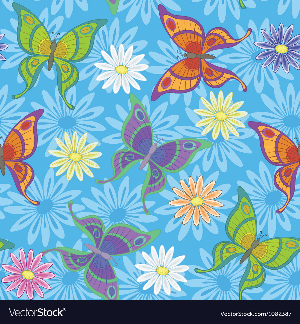 Seamless background flowers and butterflies vector | Price: 1 Credit (USD $1)
