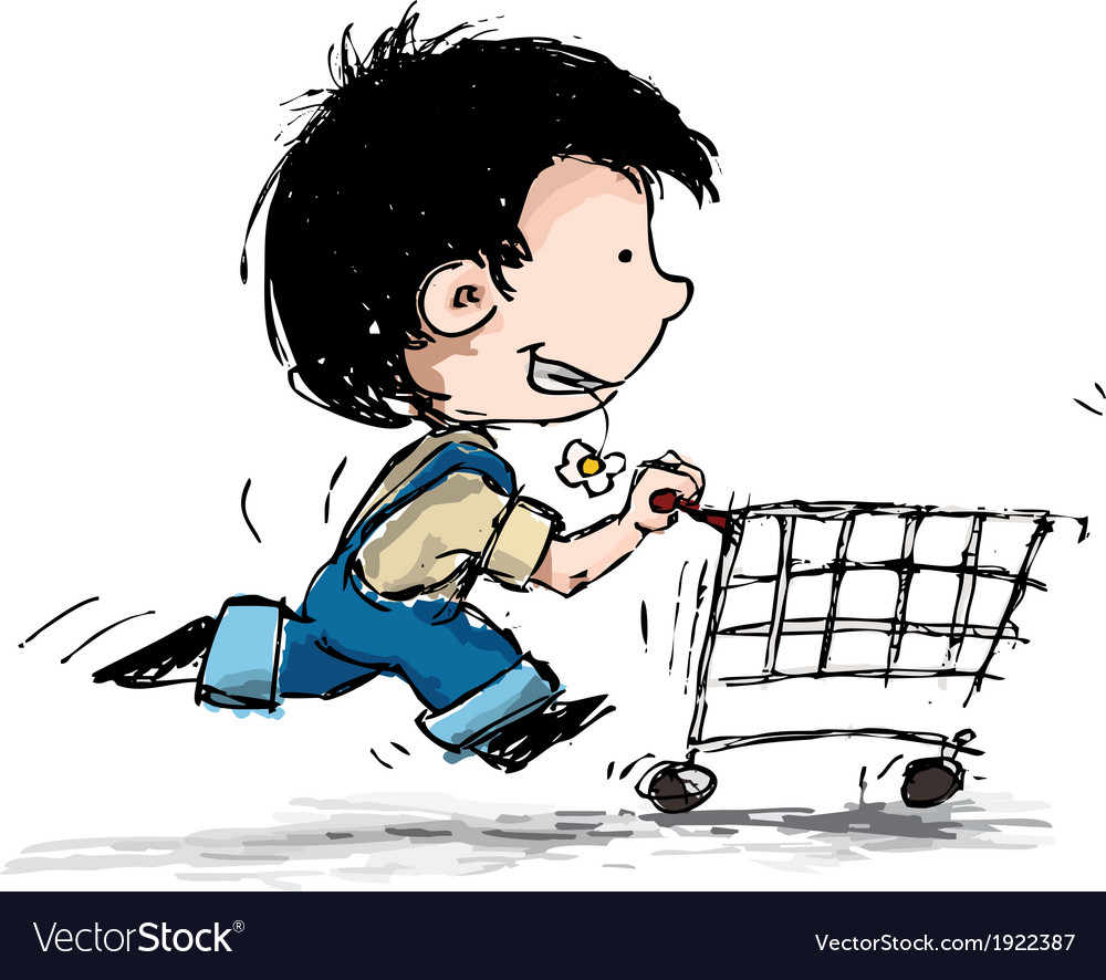 Smiling boy shopping vector | Price: 1 Credit (USD $1)