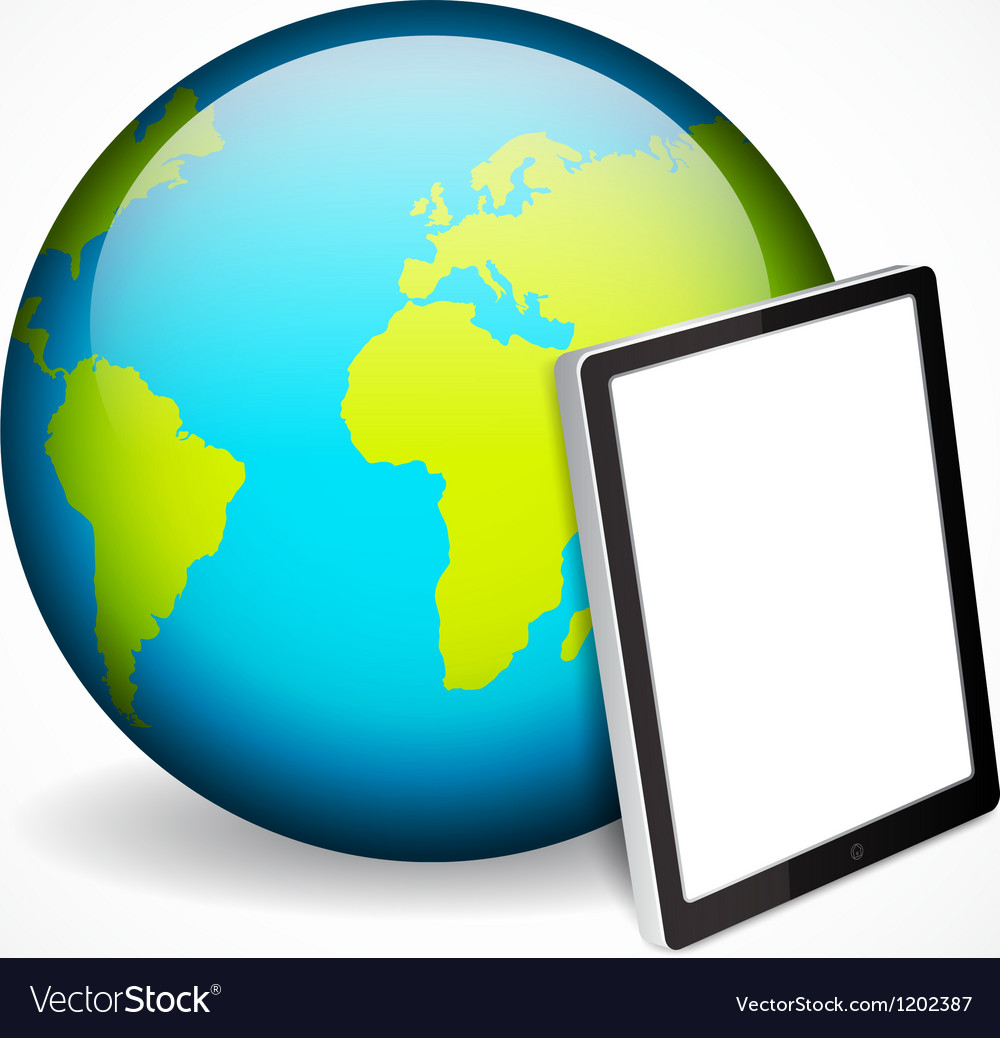 Tablet pc and planet vector | Price: 1 Credit (USD $1)