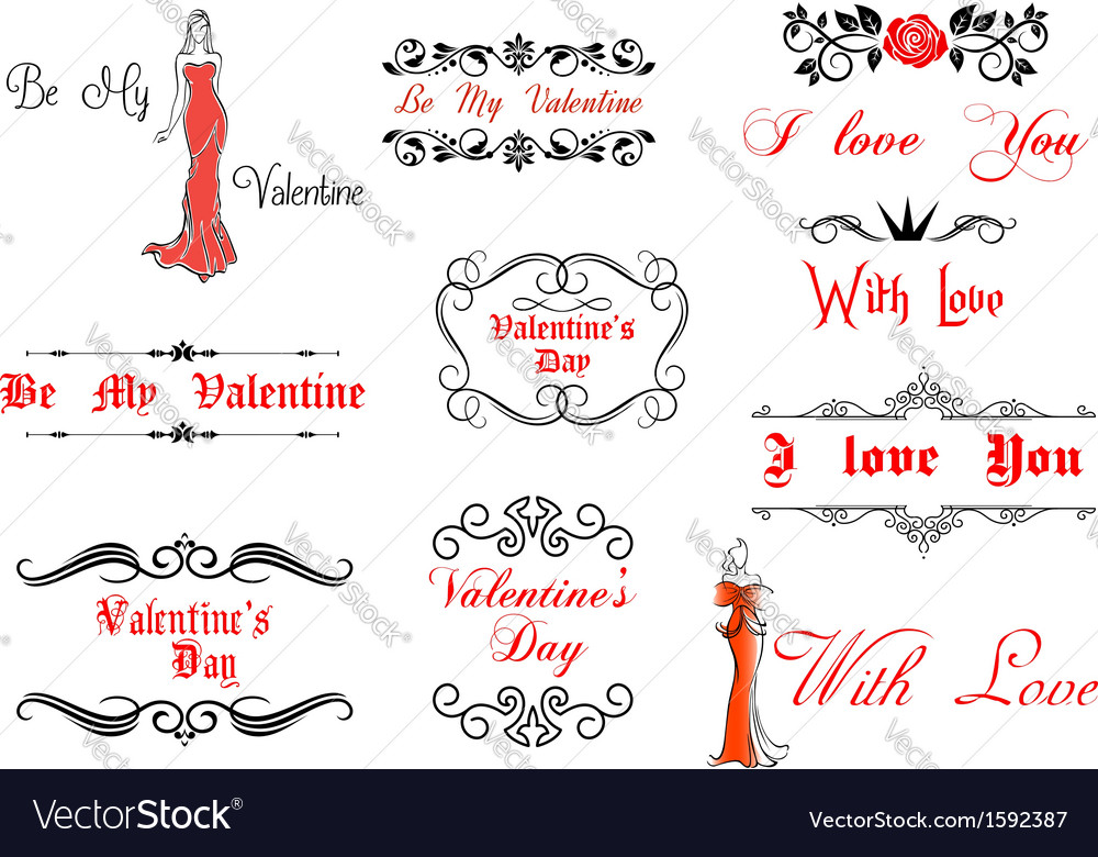 Valentines day elements and decorations vector | Price: 1 Credit (USD $1)