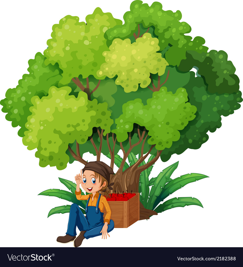 A young farmer under the tree vector | Price: 1 Credit (USD $1)