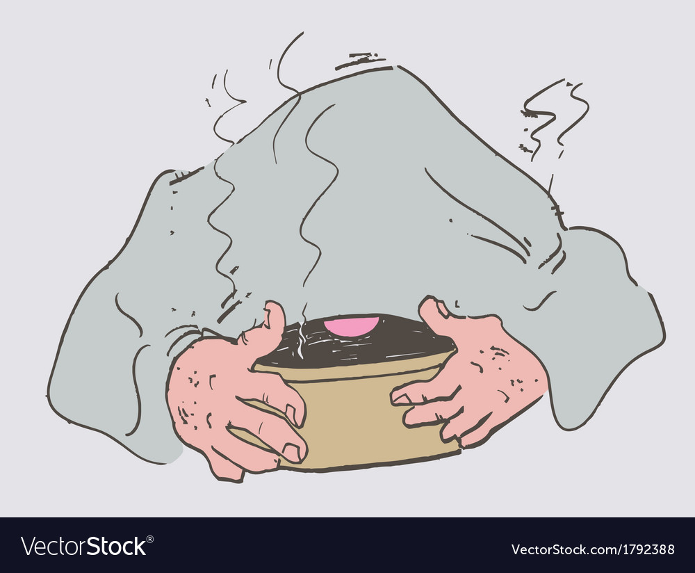 Cold man laid a towel breathes steam vector | Price: 1 Credit (USD $1)