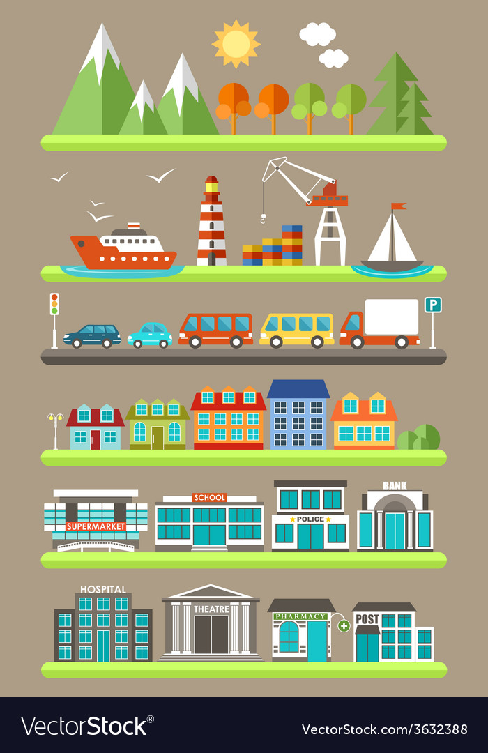 Flat city infographics vector | Price: 1 Credit (USD $1)
