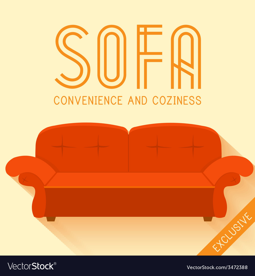 Flat red sofa background concept vector | Price: 1 Credit (USD $1)