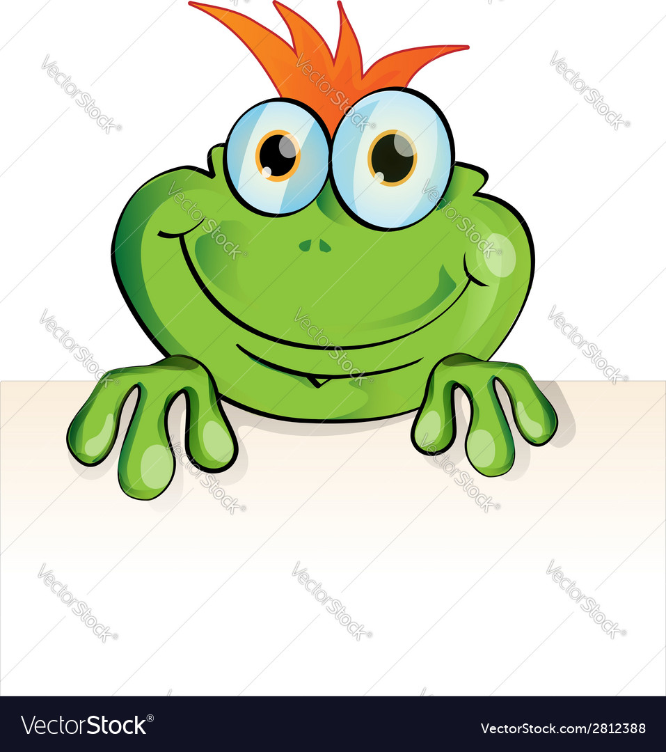 Funny frog with signboard vector