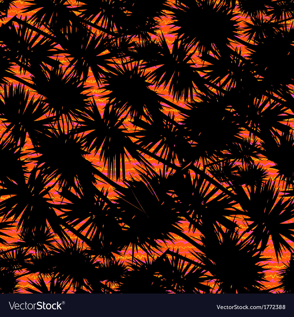 Pattern with palm leaves on tropical sunset vector | Price: 1 Credit (USD $1)