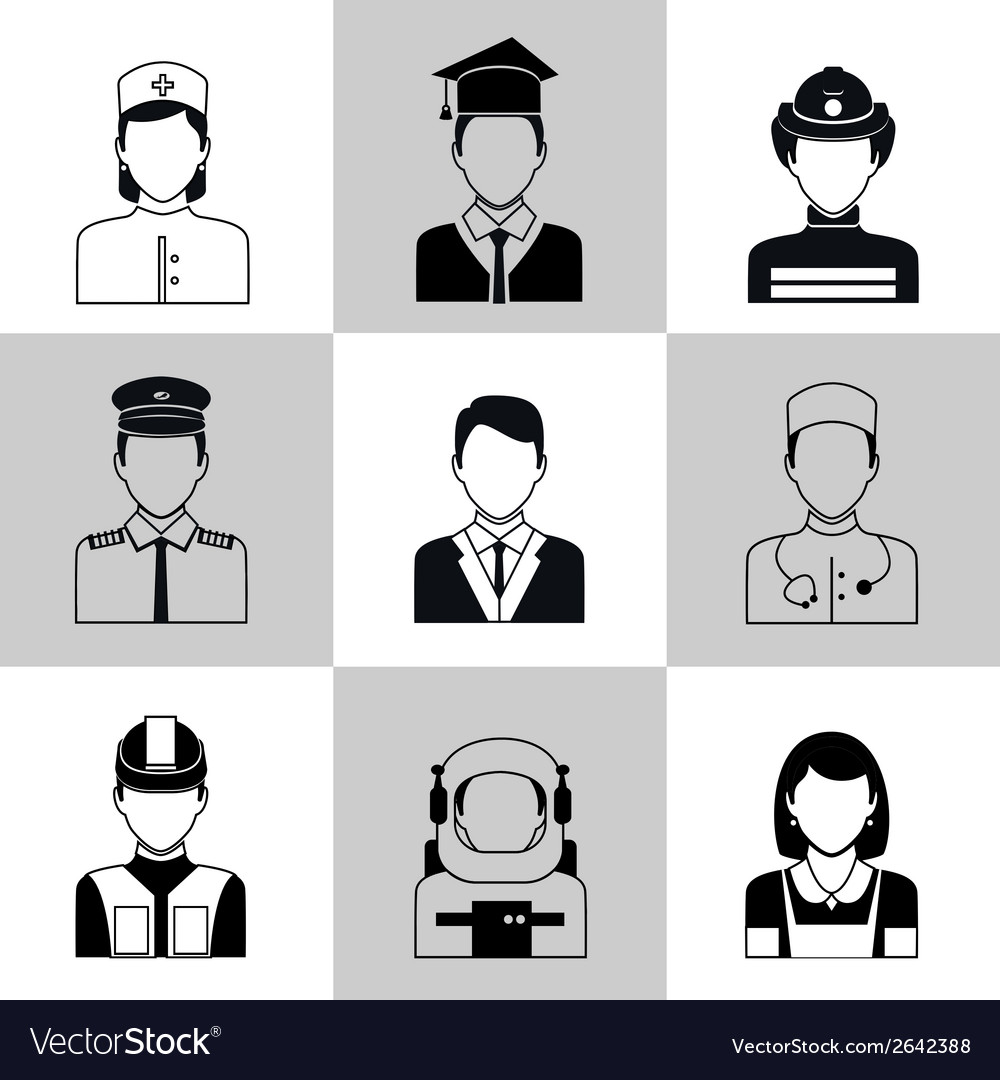 Professions avatar icons black set vector | Price: 1 Credit (USD $1)