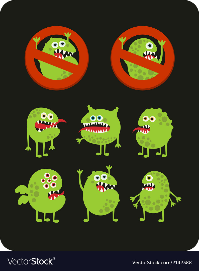 Set of cute green microbes vector | Price: 1 Credit (USD $1)