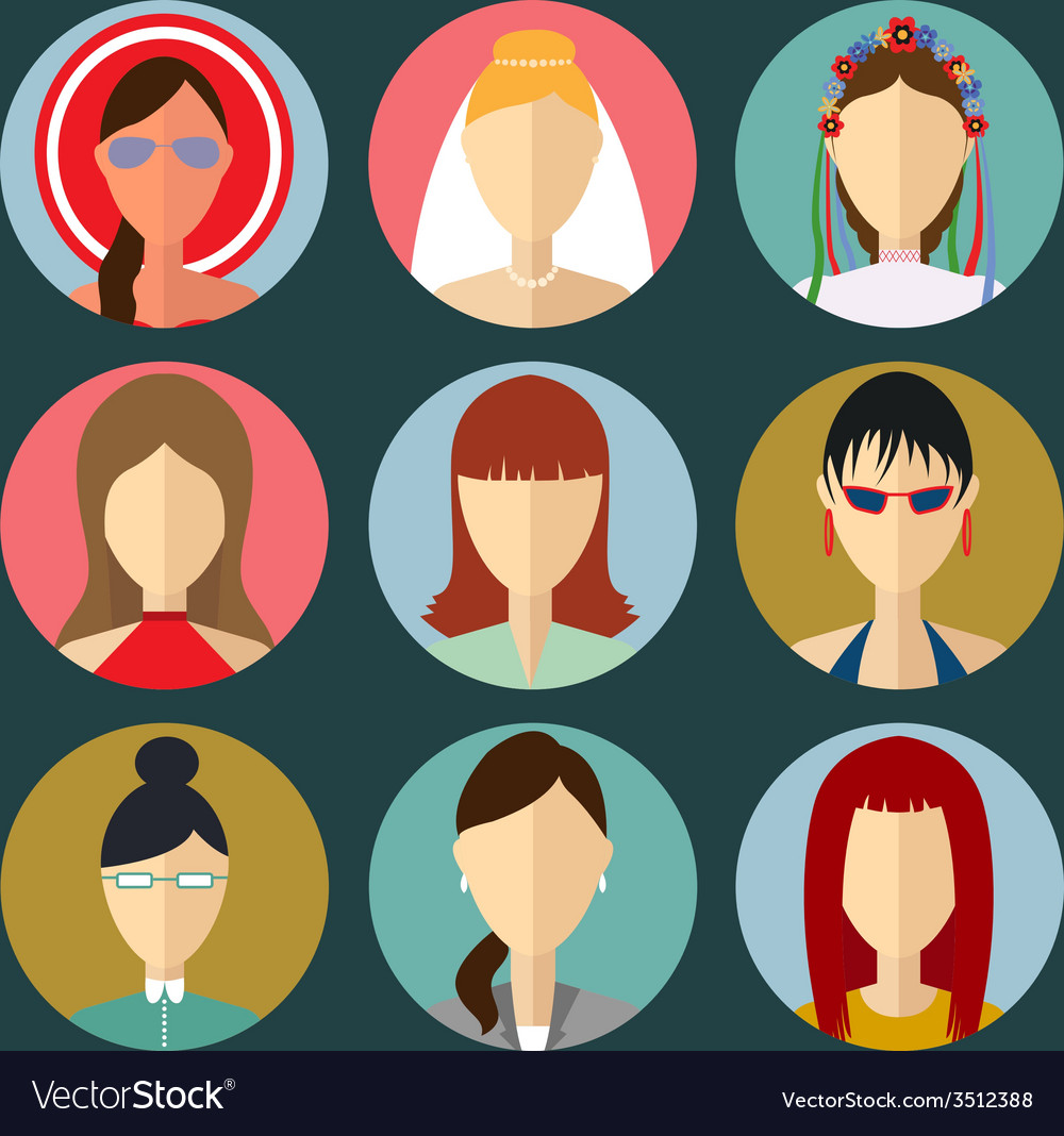 Set of flat style female characters vector | Price: 1 Credit (USD $1)