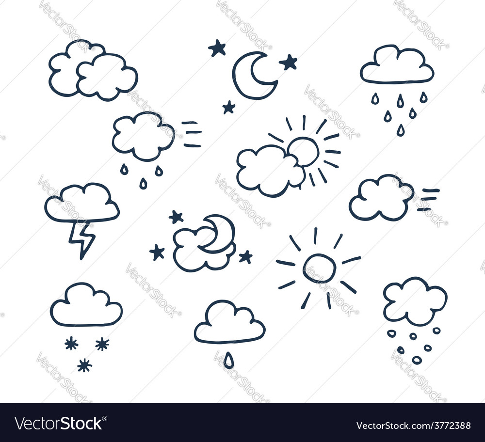 Set of handdrawn weather icons vector