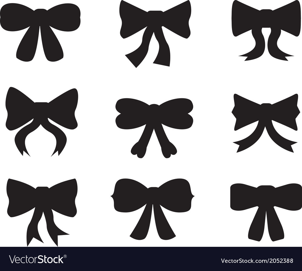Set of silhouettes of bows vector | Price: 1 Credit (USD $1)