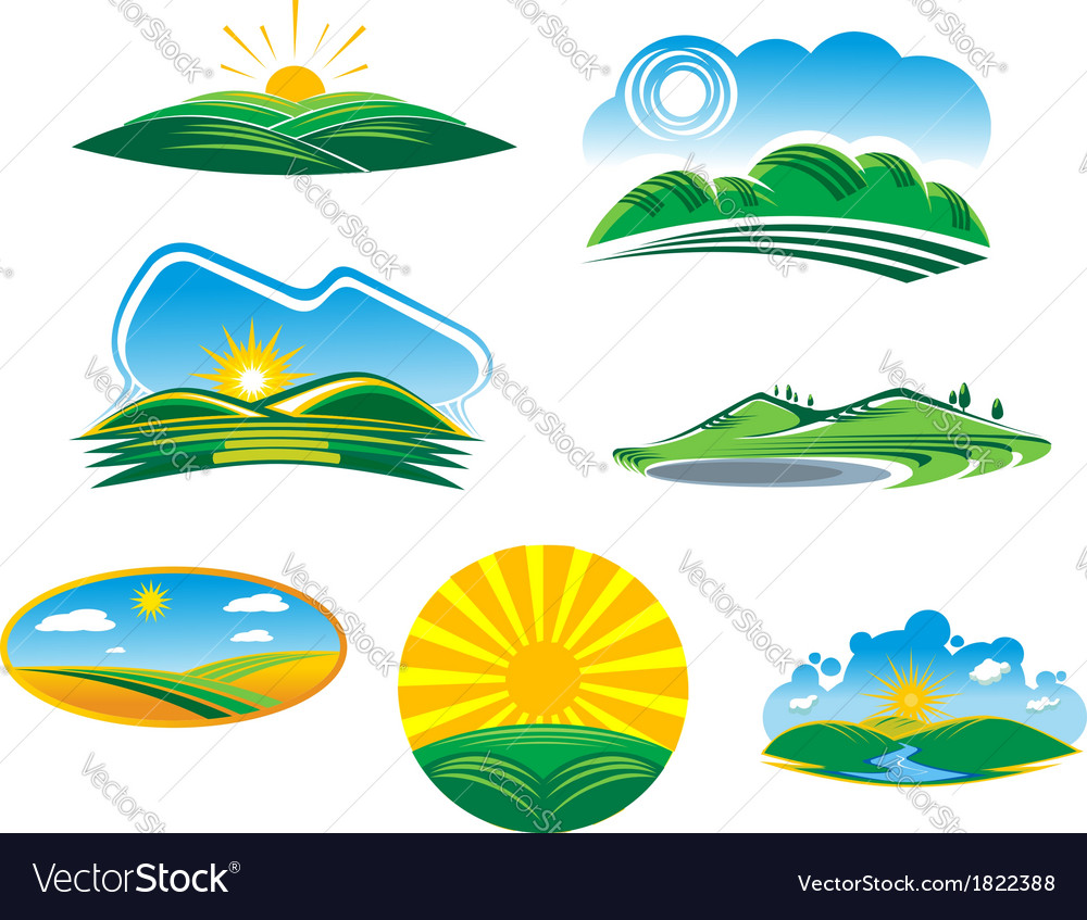 Set of sunny summer landscapes vector | Price: 1 Credit (USD $1)