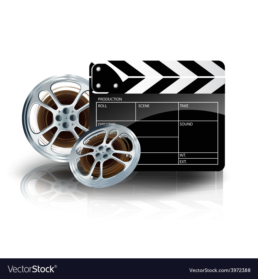 Video film tape with cinema clapper and filmstrip vector | Price: 3 Credit (USD $3)