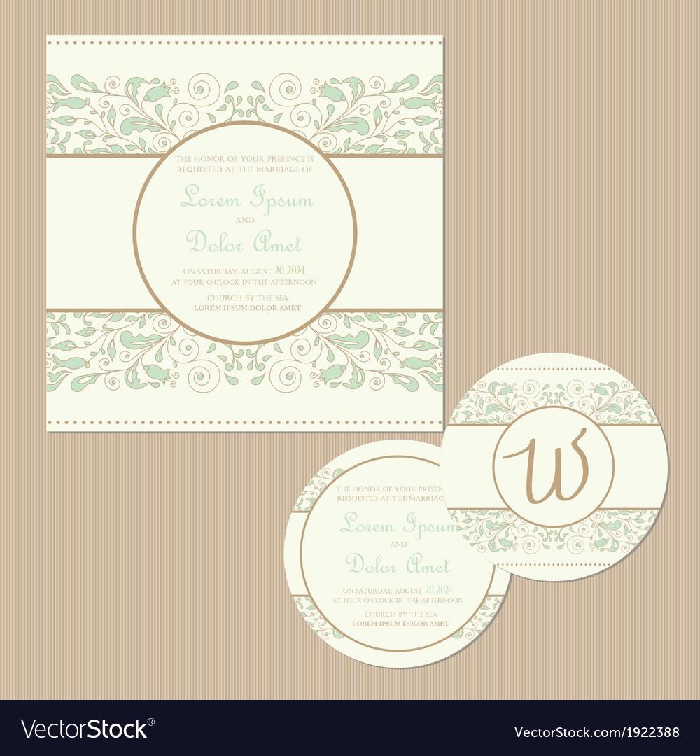 Weddding vintage cards set vector | Price: 1 Credit (USD $1)