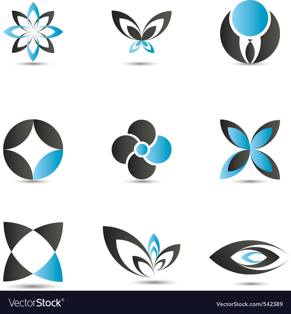 Blue logo elements vector