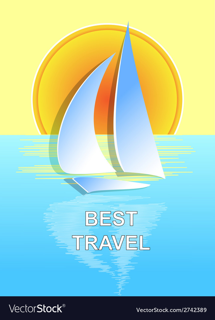 The boat on the sea best travel vector | Price: 1 Credit (USD $1)