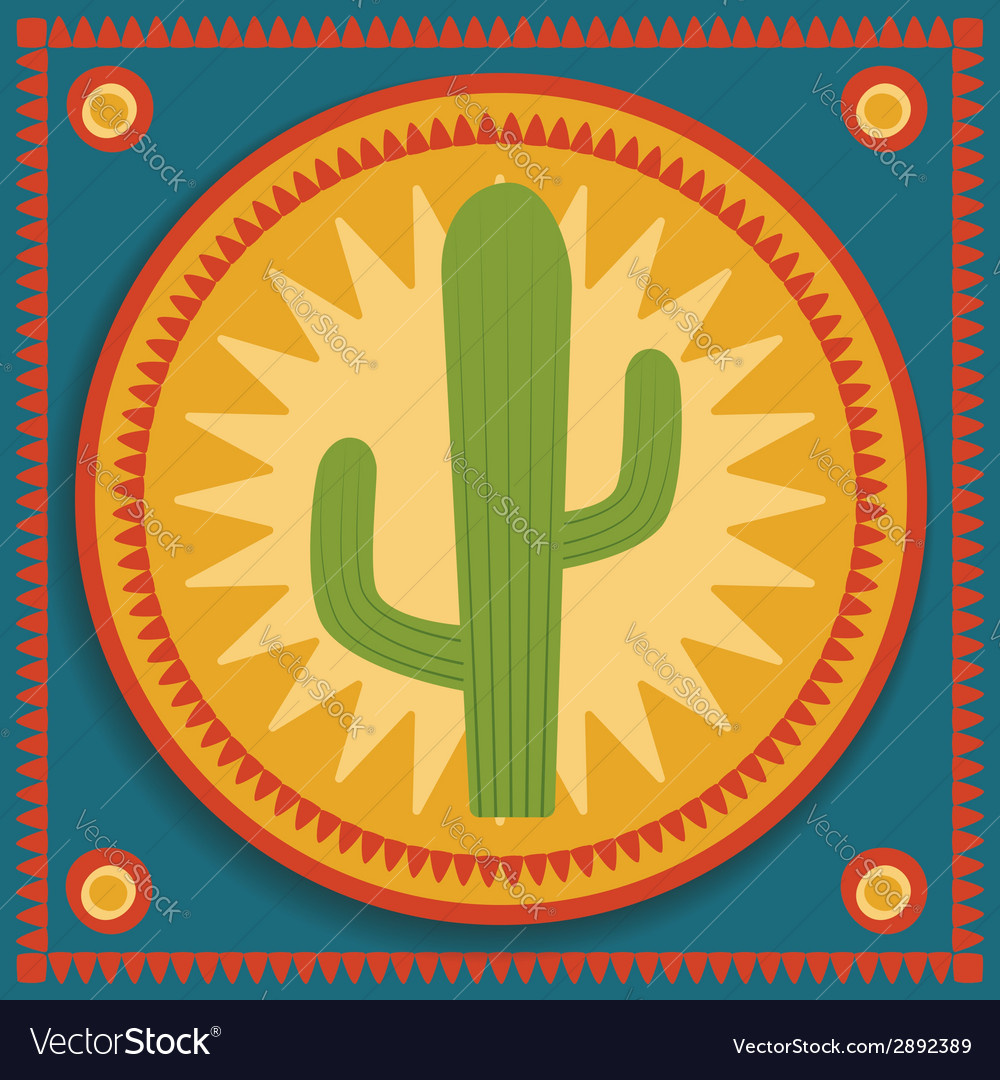 Cactus on stylized background vector | Price: 1 Credit (USD $1)