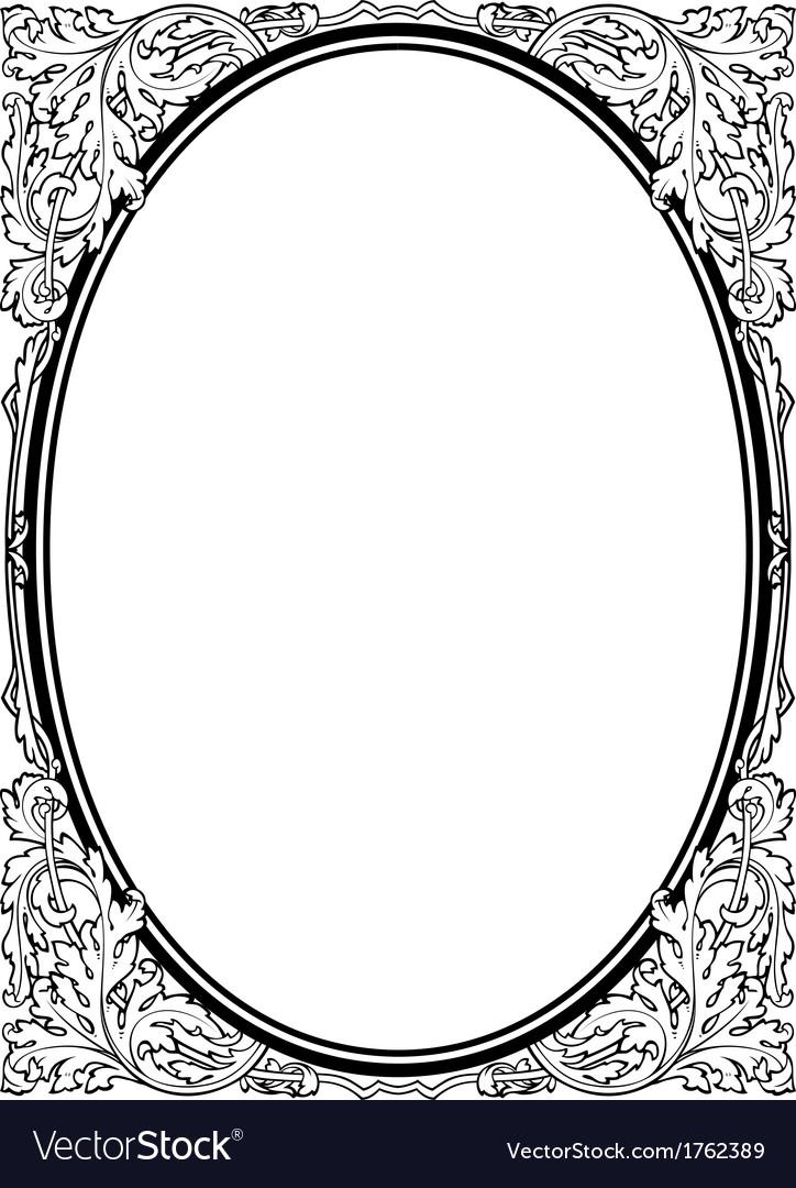 Calligraphy penmanship oval baroque frame black vector | Price: 1 Credit (USD $1)