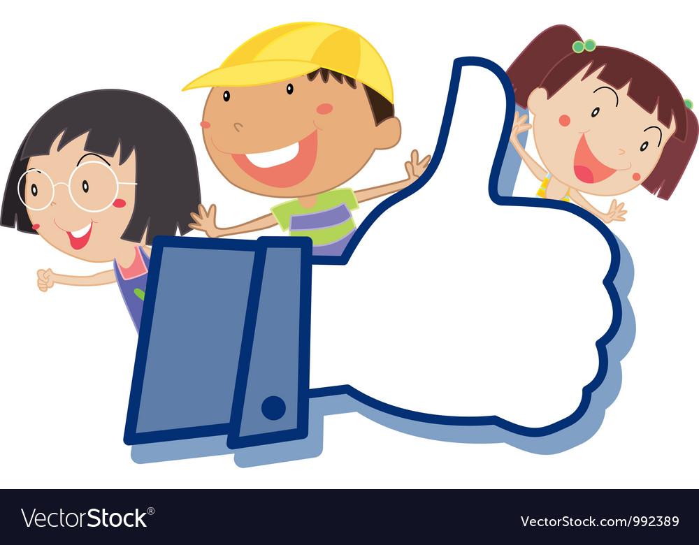 Cartoon kids like thumb vector | Price: 1 Credit (USD $1)