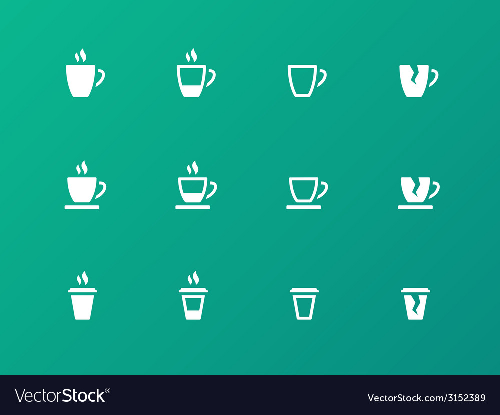 Coffee cup circle icons on green background vector | Price: 1 Credit (USD $1)
