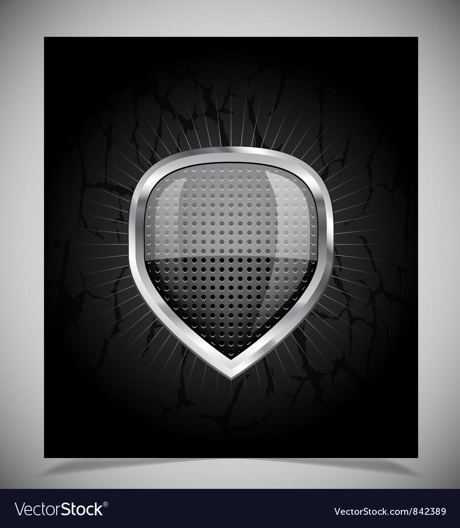 Glossy shield emblem on black background vector | Price: 1 Credit (USD $1)