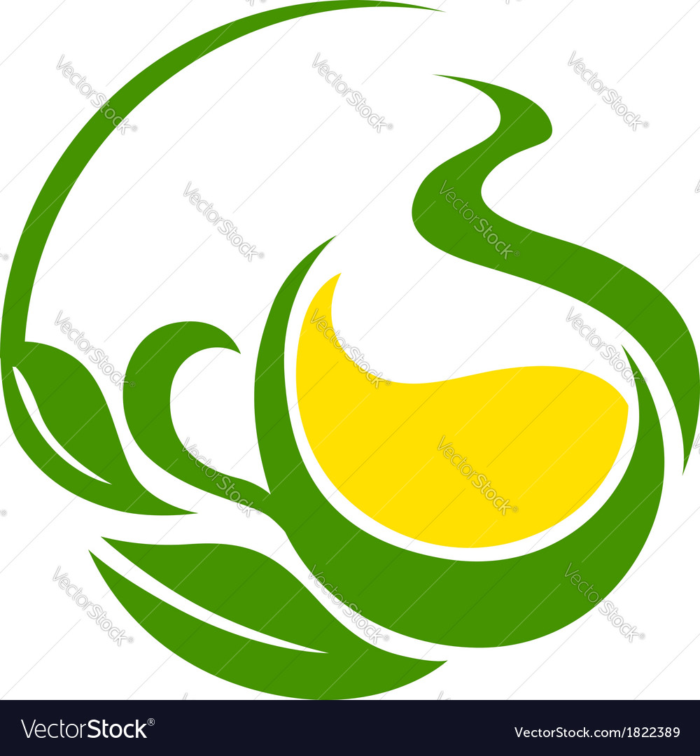 Green bio or eco design with swirling leaves vector | Price: 1 Credit (USD $1)
