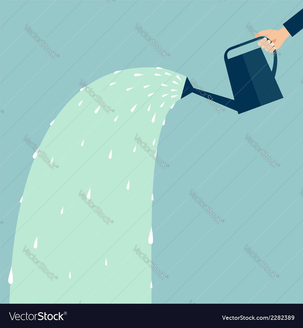 Hand holding a watering can business concept vector   Price: 1 Credit (USD $1)