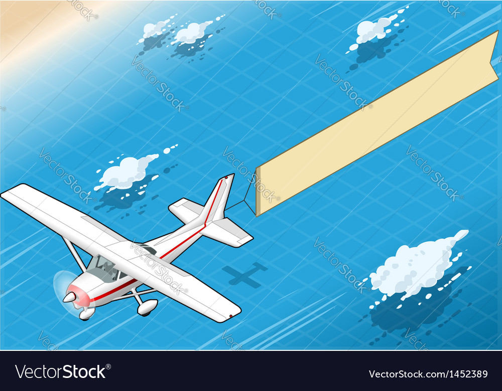 Isometric white plane in flight with aerial banner vector | Price: 1 Credit (USD $1)