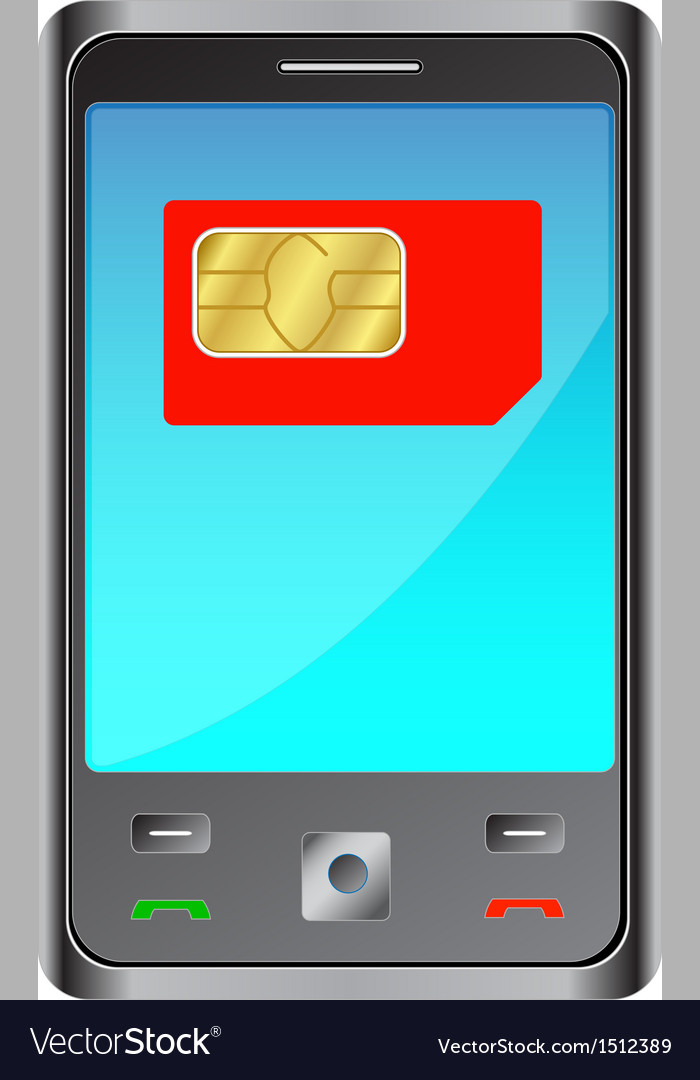 Mobile phone with red sim card vector | Price: 1 Credit (USD $1)
