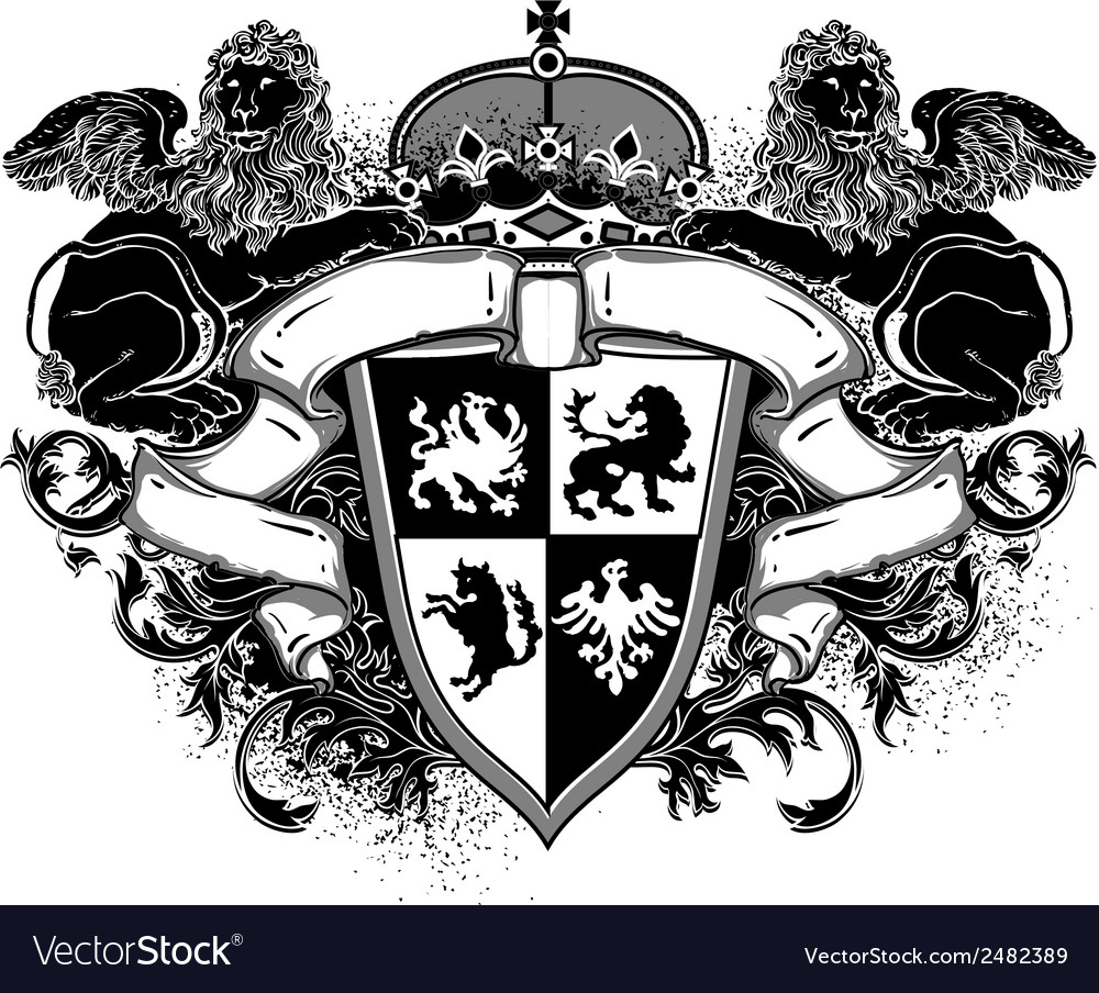 Ornamental heraldic shield with lions vector | Price: 1 Credit (USD $1)