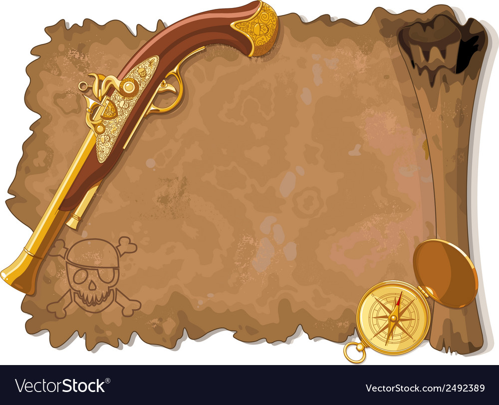 Pirate scroll gun and compass vector | Price: 1 Credit (USD $1)