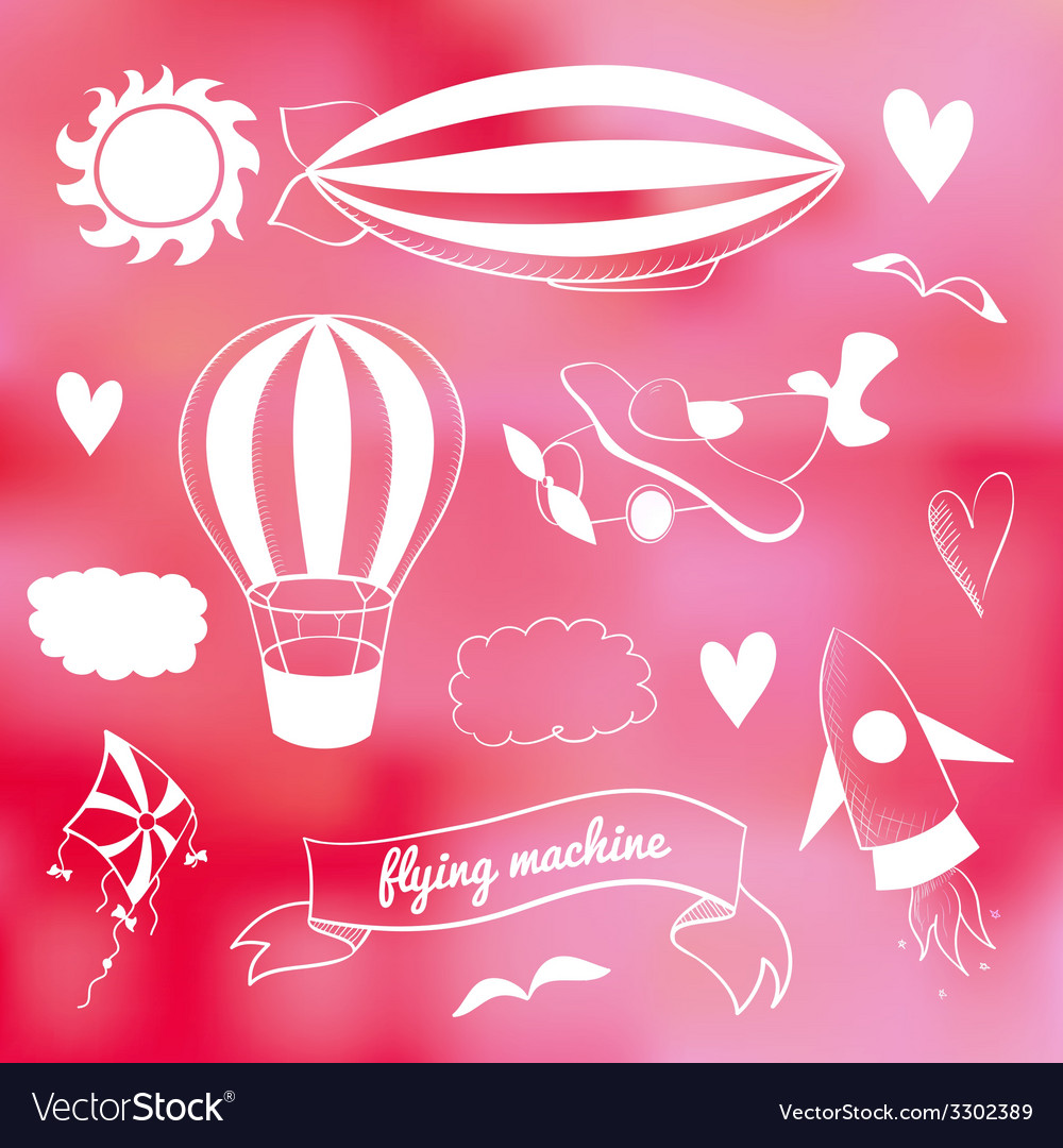 Romantic set with flying transport vector | Price: 1 Credit (USD $1)