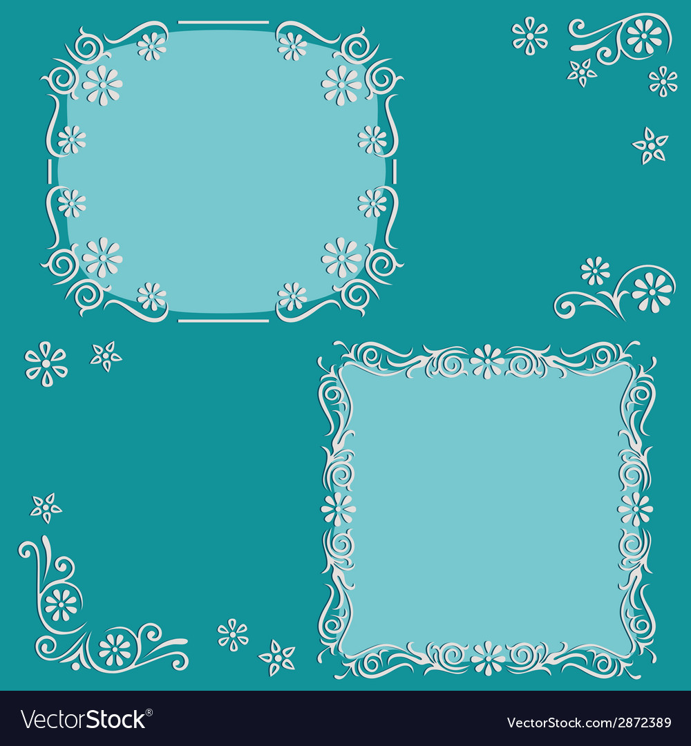 Set floral frame vector | Price: 1 Credit (USD $1)