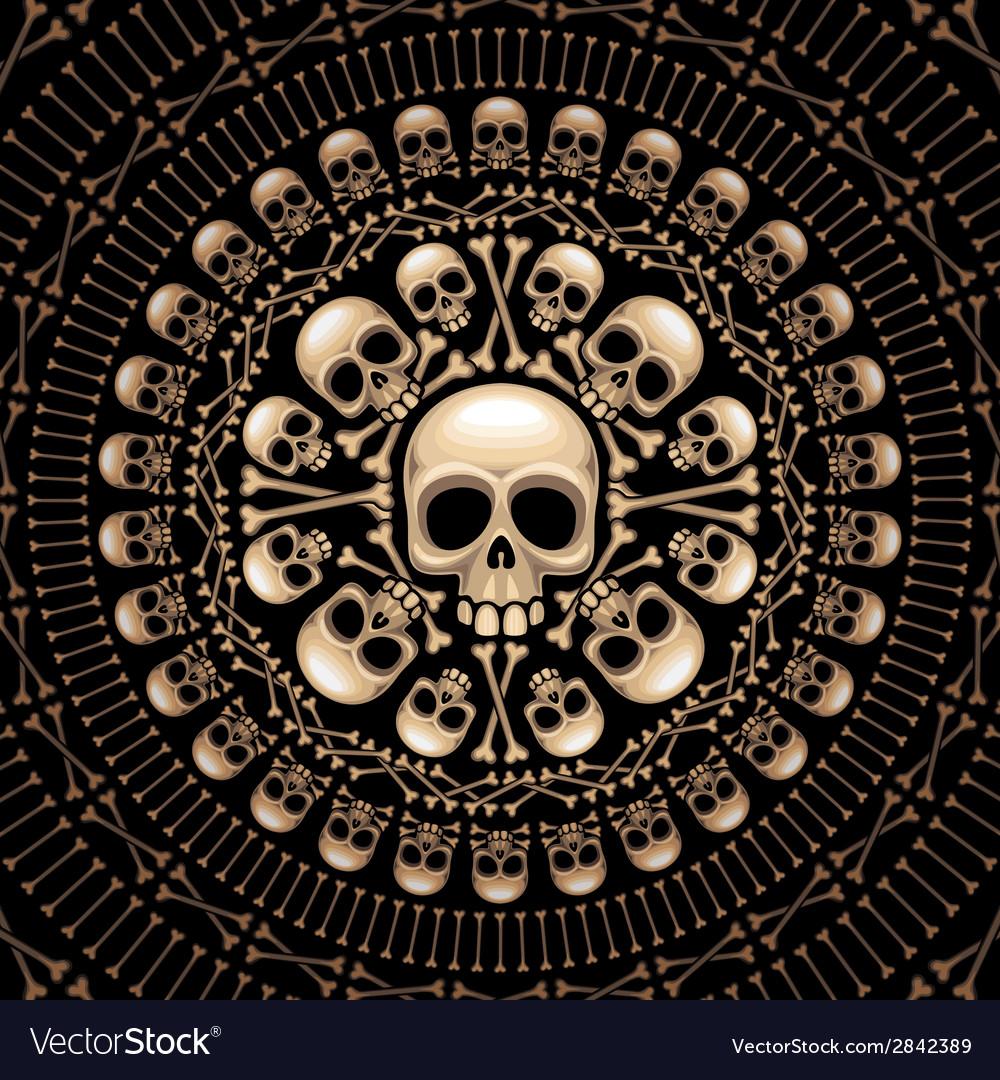 Skulls and bones rosette vector | Price: 1 Credit (USD $1)