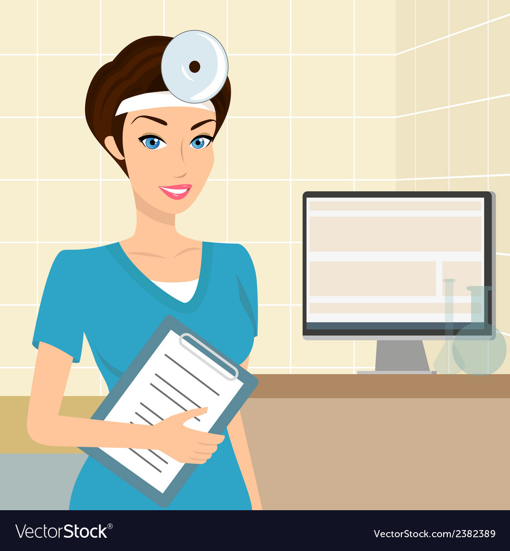 Smiling doctor otolaryngologist in the laboratory vector | Price: 1 Credit (USD $1)