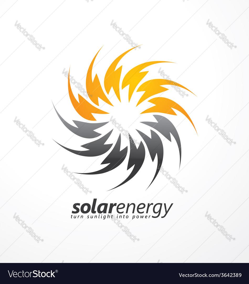 Solar energy logo design concept vector