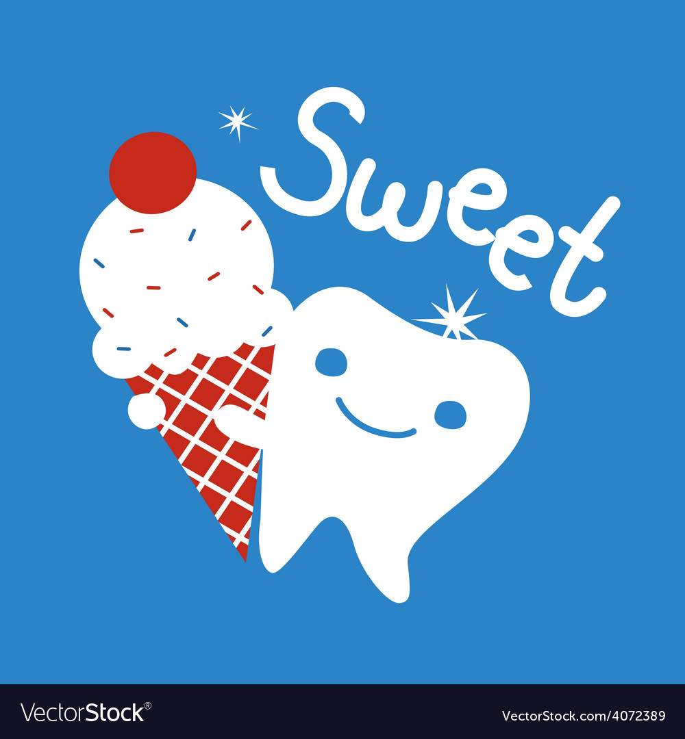 Sweet tooth with ice cream vector   Price: 1 Credit (USD $1)