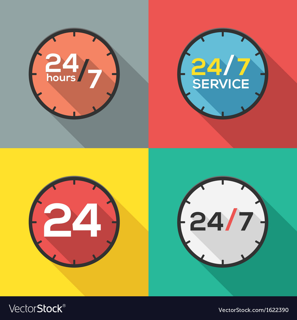 24 hours a day and 7 days a week flat icon clock vector | Price: 1 Credit (USD $1)