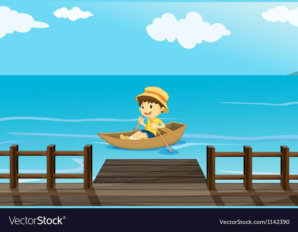 A boy riding a boat vector | Price: 1 Credit (USD $1)