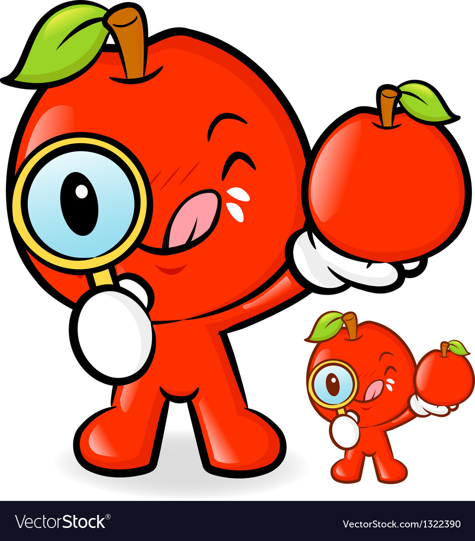 Apple mascot examine a with a magnifying glass vector | Price: 1 Credit (USD $1)