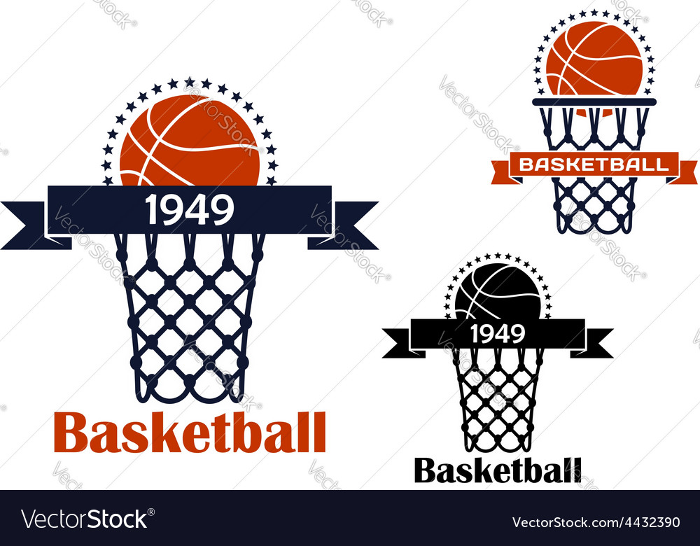 Basketball sport game emblem or symbol vector | Price: 1 Credit (USD $1)