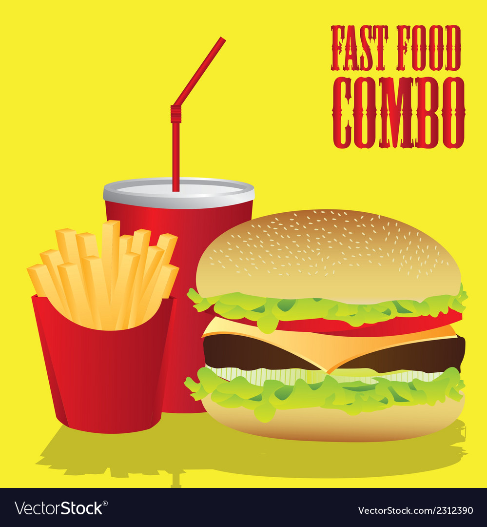 Fast food combo with a hamburger french fries and vector | Price: 1 Credit (USD $1)