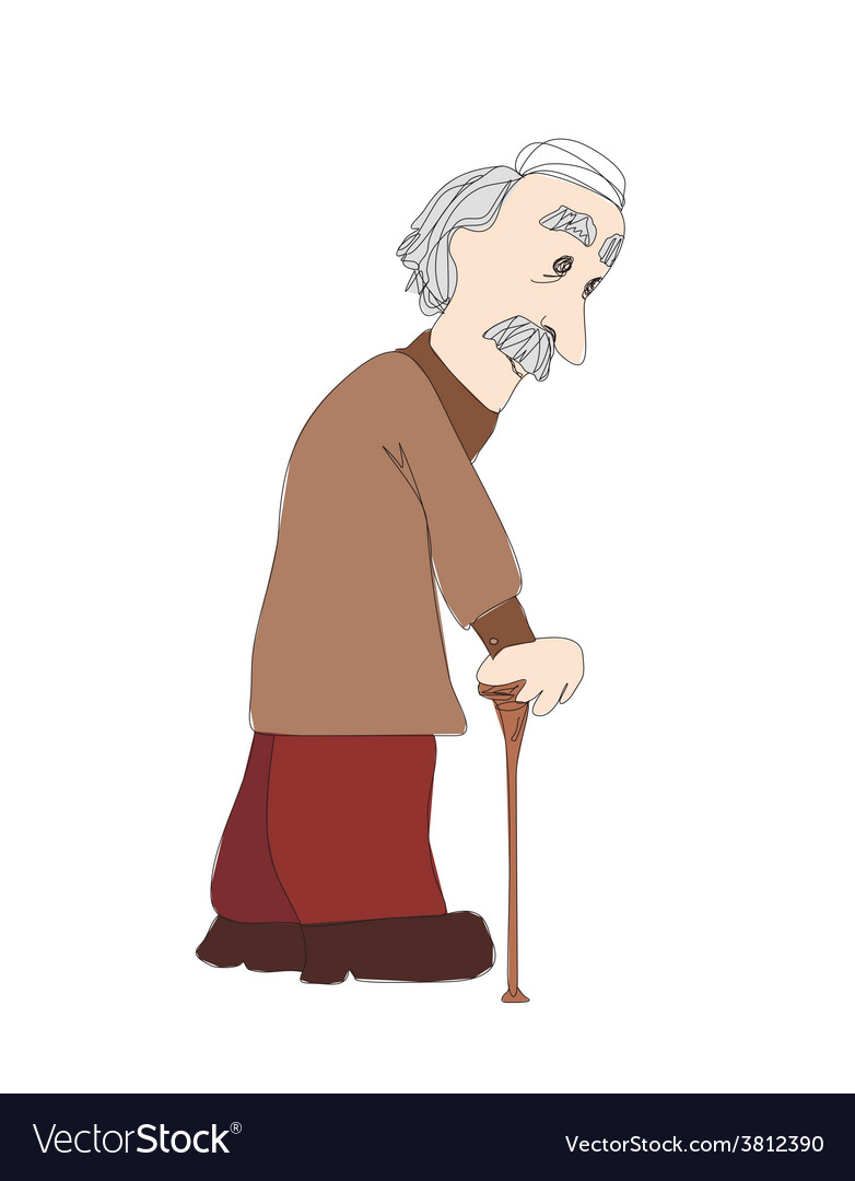 The old man on a white background vector | Price: 1 Credit (USD $1)