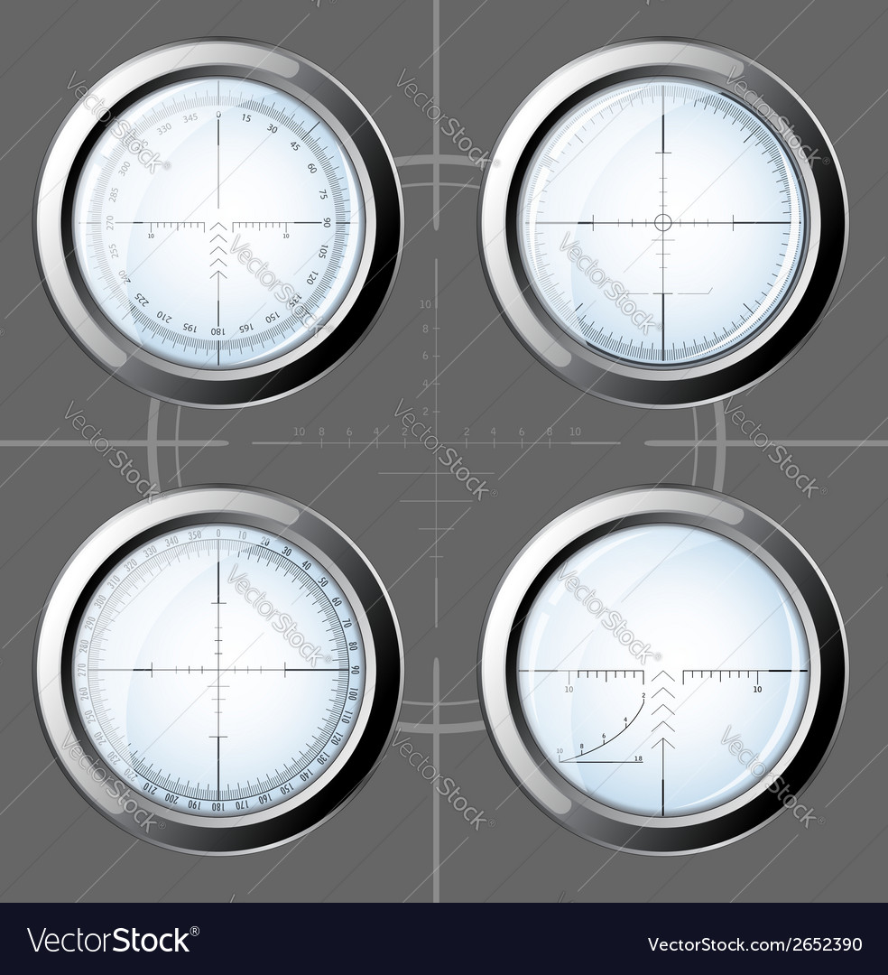 Set of sniper scopes over grey background vector | Price: 1 Credit (USD $1)